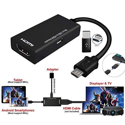 MeterMall CE Type C & Micro USB Mannelijke naar HDMI Vrouwelijke Adapter Kabel voor Mobiele Tablet TV