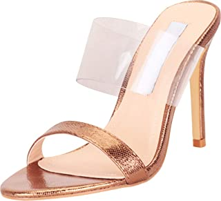 Cambridge Select Women's Slip-On Clear See-Through Stiletto High Heel Sandal