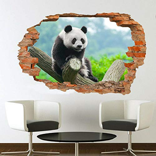 3D Wall Tattoo Floor Sticker Hole Creative Wall Sticker Tree Cute Panda 12x20inch(30x50cm) Bathroom Wall Sticker Fridge DIY Sticker