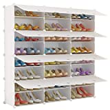 KOUSI Portable Shoe Rack Organizer 24 Grids Tower Shelf Storage Cabinet Stand Expandable for Heels, Boots, Slippers, White