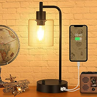 Industrial Table Lamp,Hansang Vintage Desk Lamp 0-100% Fully Stepless Dimmable,Nightstand Lamp with 2 USB Ports,Glass Shade Lamp for Bedroom,2700K Warm White LED Edison Bulb Included