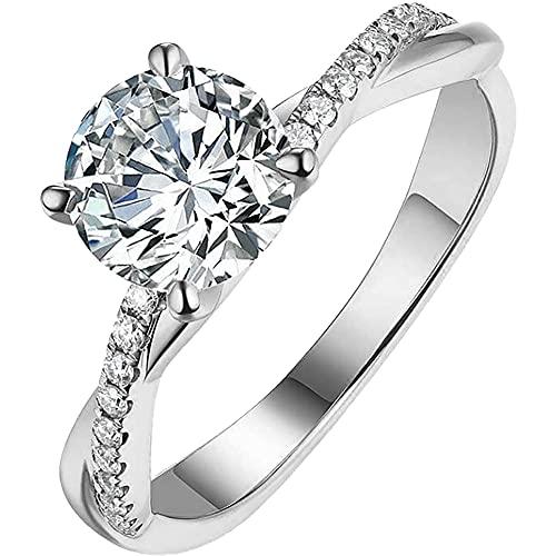 SGTHYJ Anillos de Plata Esterlina 925, Anillo de Oro para Mujer Diamantes de Imitación Blancos Tamaño 5-11 Diamante Anillos de Circón Joyería Regalos de San Valentín para Mamá Mujeres