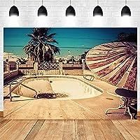 lovedomi 7x5ft アメリカの建築放棄されたプールの写真の背景 写真スタジオブースの背景 家族の休日の誕生日パーティーの写真 スタジオの小道具の写真 ビニール素材