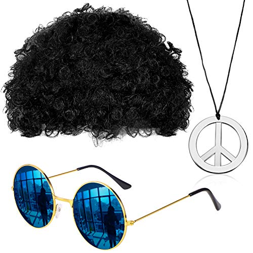 Gejoy Hippie Costume Set Funky Afro Wig Sunglasses Peace Sign Necklace for 50/60/70s Theme Party (Black)