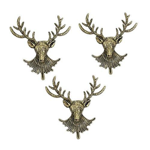 AUTULET 3 Stück der Männer einzigartiger antiker Hirsch Lange Hörner Kopf Ehrennadel Vintage-Anzüge Shirts Brosche ansteckblume-Bronze