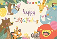 写真のための新しい7x5ftビニールお誕生日おめでとう背景漫画動物パラダイスジャングルパーティー森野生動物写真の背景ベビーシャワー新生児の男の子の女の子ポートレート写真装飾スタジオ小道具