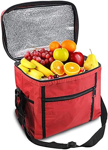 GOLDGOD Bolsa De Almuerzo Más Fresca, Bolsa con Compartimento Doble Aislamiento Transporte Alimentos Fríos Y Calientes Enfriador Suave Bolsillos para El Trabajo La Escuela Picnic
