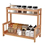 Ufine 2 Tier Bamboo Spice Rack Organizer Kitchen Countertop Storage Shelf Free Standing Holder Under Cabinet Bathroom for Various Bottles, Jars, Space Saving