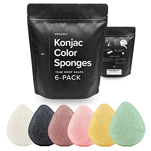 Minamul Konjac Exfoliating Organic Facial Sponge Set | Gentle daily face scrub/skincare | Safe for Oily, Dry, Combination or Sensitive skin | Charcoal, Turmeric, French Green, Red & Pink Clay