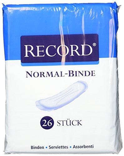 Camelia Record Damen Binden aus Baumwolle, Normal, Mit Prägelinien und Haftstreifen, 12 x 26 Stück
