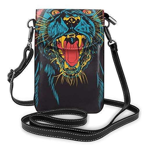 Bolso ligero del teléfono celular del cuero de la PU, pantera dibujo pequeño Crossbody bolsos bolso bolso de hombro cartera Pounch bolso para las mujeres, color Negro, talla Talla única