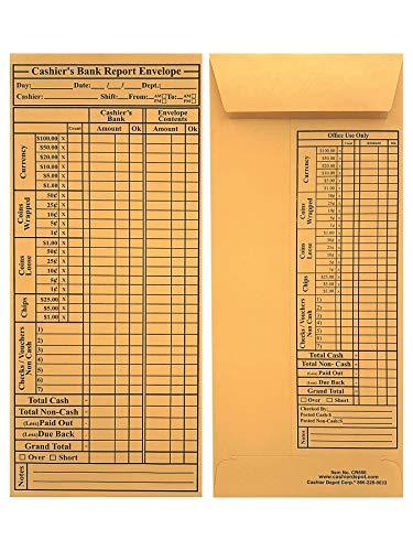 "2500 Cashier Depot CR680 Cashier's Bank Report Envelopes, 4 1/2"" x 10 3/8"", Brown Kraft, 24lb. (Value Box (2500 Envelopes))"