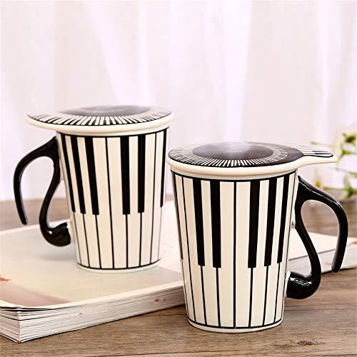 Subink Becher, Coffee to go Becher, kreative Keramik Musik Tasse, Note Mark Wasser Tasse, Paar Tastatur Paar Tasse mit Deckel Kaffeetasse