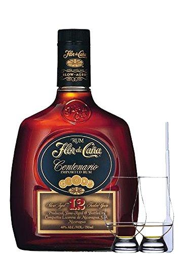 Flor de Cana Centenario 12 Jahre Nicaragua 0,7 Liter + 2 Glencairn Gläser + Einwegpipette 1 Stück