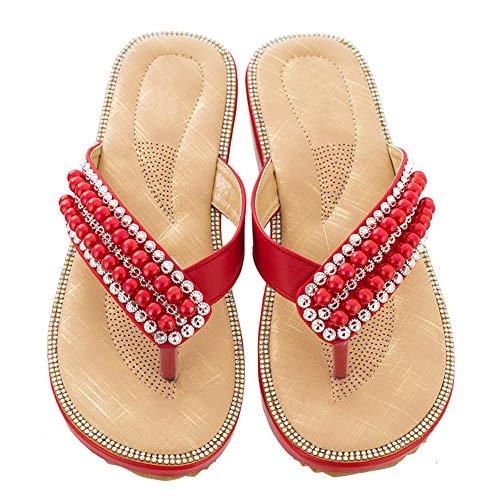 Damen-Zehentrenner Flip-Flops Plattform Flach-Sandalen mit Strass Rot 41 EU