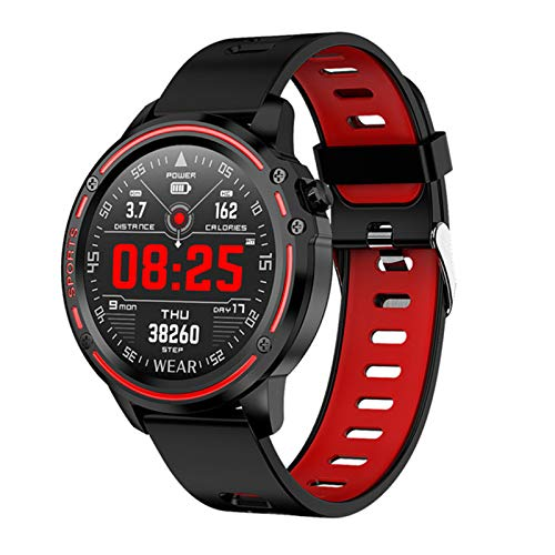 ZGNB L8 Smart Watch Men's IP68 IP68 A Prueba de Agua Reloj Hombre Modo SmartWatch y ECG PPG Presión Arterial Ejercicio de Ritmo cardíaco Aptitud Aplicable para Android iOS,A