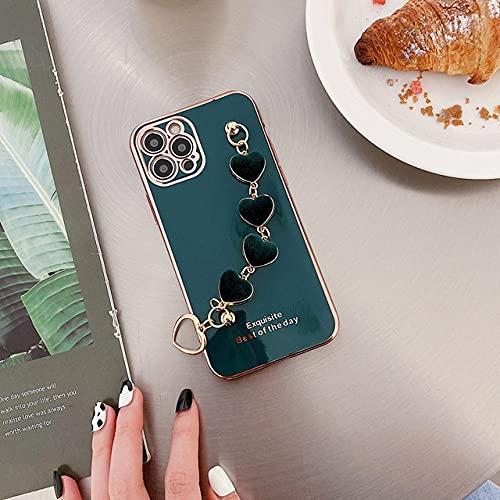 DEIOKL Funda de teléfono con Cadena de Pulsera de corazón de Pana de Silicona chapada para iPhone 12 Pro MAX Mini 11 Pro MAX X XS XR 7 8 Plus SE 2020 Funda, Drak Green, para iPhone 7Plus
