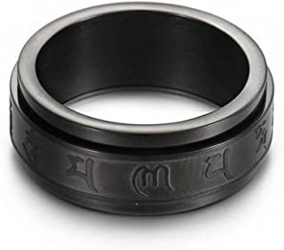 8MM Stainless Steel Spinning Tibetan Six True Syllable Mantra Ring for Buddhist Believer