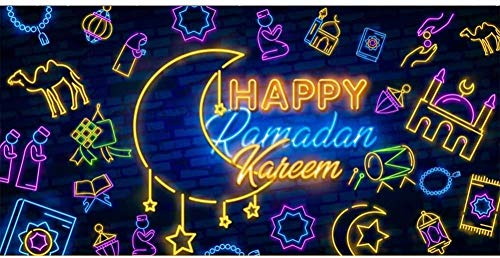Happy Ramadan Kareem Background Letreros de neón Fotografía de Vinilo Telón de Fondo Pared de ladrillo Tendencia Moderna Saludo islámico Castillo Luna Estrella Religión Banner Festival-6x4FT
