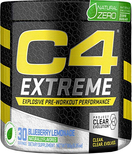 C4 Extreme Natural Zero Pre Workout Powder Blueberry Lemonade | Natural Flavored Sugar Free Preworkout Energy Supplement for Men & Women | 200mg Caffeine + Beta Alanine + Creatine | 30 Servings
