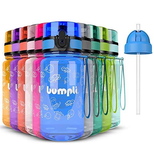 bumpli ® Kinder Trinkflasche mit Gratis Strohhalmdeckel - 350ml - Auslaufsicher, BPA-Frei - Kinderflasche für Kindergarten, Schule, Ausflüge - besonders leicht und robust