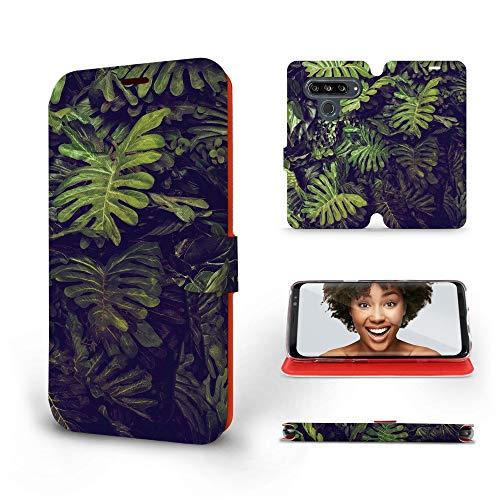 Mobiwear   Slim FLIP Hülle   Kompatibel mit LG G8s ThinQ, Made in EU handyhülle, Premium Schutzhülle, Transparent TPU Silicon, Book Style Hülle, Tasche - Blätter