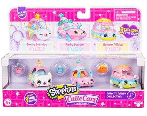 Shopkins Cutie Cars 3 Pack Collections, Die Cast Collectible Cars with Mini Removable Park N Party Collection