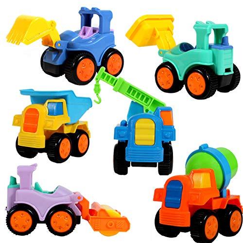 fiouni Empuje y Vaya Fricción Powered Truck Cars Juguetes Set para 1 2 3 4 5 años para bebés y niñas 6 Piezas de excavadoras, grúas, volquetes, Rodillos, bulldozers, Camiones mezcladores