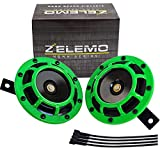 Eletric Car Horn Kit 12V Super Loud High Tone and Low Tone Metal Twin with Green Protective Grill Works on Any 12 Volt Vehicle Horn Including Cars, Trucks, Vans, Motorcycles, Buses, Buses,Boats…