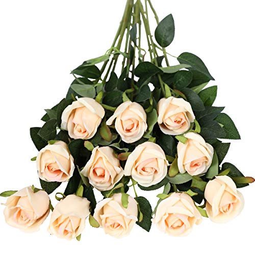 Tifuly - Fiori artificiali, 12 pezzi, a stelo lungo, con rose finte in seta, bouquet da sposa, fiori realistici per matrimoni, feste, casa, centrotavola (boccioli di rose, champagne)