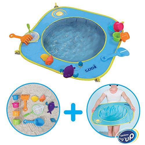 Unbekannt Ludi Pop-up - Piscina de plástico (a Partir de 10 Meses, Incluye 10 Juguetes de Playa)