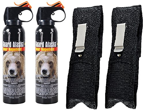 Guard Alaska Bear Spray Repellent + Pepper Enforcement Belt Clip Holster - Maximum Strength - EPA Registered (2-Pack)