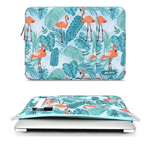 MOSISO Laptop Sleeve Hülle Kompatibel mit 13-13,3 Zoll MacBook Air, MacBook Pro, Notebook Computer, Polyester Vertikale Stil Flamingo Palme Verlässt Laptoptasche