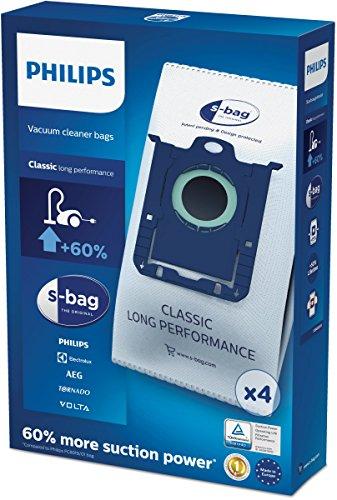 Philips FC8021/03 - Cuatro bolsas S-bag desechables, 15% más de capacidad, para aspiradores Philips y de otras marcas