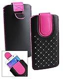 Emartbuy® Schwarz / Hot Rosa Edelsteinbesetzt Premium PU Leder Slide in Hülle Tasche Sleeve Abdeckungs Halter ( Größe LM2 ) Mit Pull Tab Mechanism Passend für Medion Life E5020 Smartphone