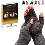 SyeJam Arthritis Gloves Fingerless- Rheumatoid Arthritis Compression Gloves for Pain Relief - Grey (M) 1 Pair