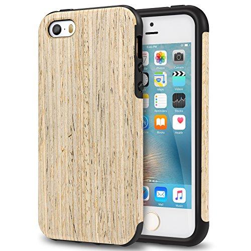 TENDLIN Cover iPhone SE Legno Ibrida Silicone TPU Flessibile Custodia Antiurto per iPhone SE 5S 5 (Nordic Noce)
