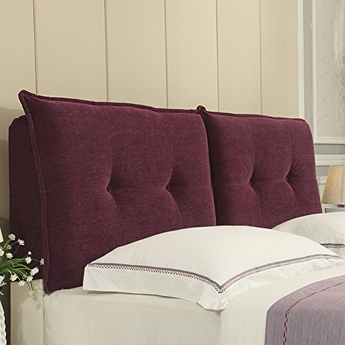 B-fengliu Bed Backrest Cushion Headboard Cushion Large Back Waist Pad Detachable Washing For Single Double Bedroom (Color : Purple, Size : 200 x 10 x 60cm)