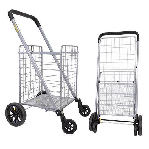 dbest products Cruiser Cart Deluxe Shopping Grocery Rolling Folding Laundry Basket on Wheels Foldable Utility Trolley Compact Lightweight Collapsible, Silver and Black