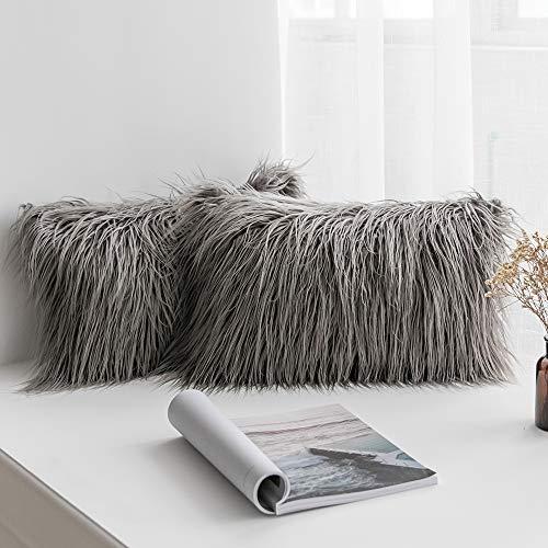 MIULEE Juego de 2 Funda de Almohada Cojines de Piel Decorativos Cuadrados y Suaves Cojines PeloPara la Decoración del Hogar Sofá Cama del Coche 12x20 Inch 30 x 50 cm Gris