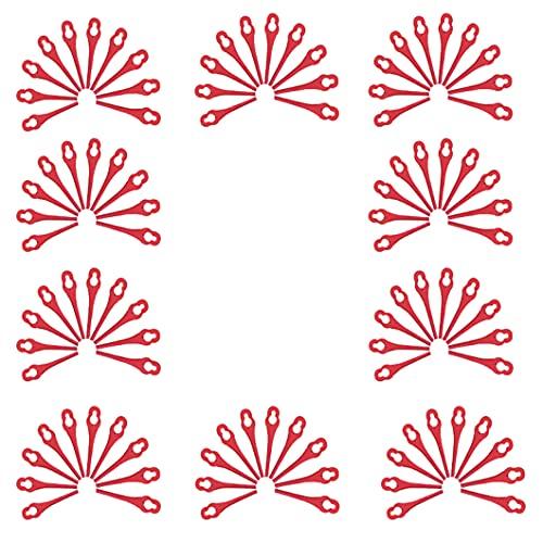 haihaz,100 pcs Cortabordes de Plástico Hoja de Repuesto,Cuchillas de Recambio para Cortacésped,Cuchillas de Plástico Cortacésped,Cuchillas de Repuesto Rojo,83m Cuchillas de Repuesto de Plástico