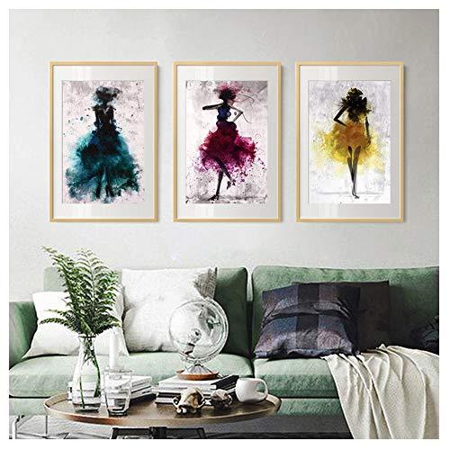 Three Girl Dancing Wall Art Canvas Painting Nordic Poster and Print para la Sala de Estar Kids Room Decoration Canvas Art -50x70cm sin Marco