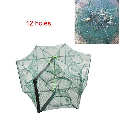 LikeFish Portable Folded Fishing Net Collapsible Net Trap Cast Dip Cage Automatic for Fish Shrimp Minnow Crayfish Crab Baits (12 Holes)
