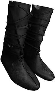أحذية رجالية من عصر النهضة في العصور الوسطى للحفلات التنكرية للهالوين من الجلد الصناعي حتى الركبة بأربطة عتيقة للمسرح قراص...