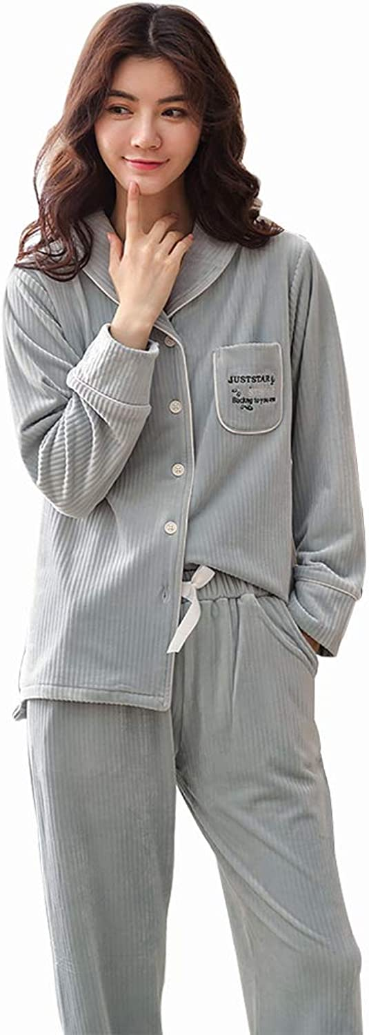 Pajamas Women's Autumn and Winter Thin Section Loose Home Service can be Worn Outside The Suit (color   bluee, Size   L)