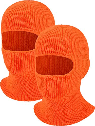 2 Pieces 1-Hole Ski Mask Knitted Face Cover Winter Balaclava Full Face Mask for Winter Outdoor Sports (Orange)