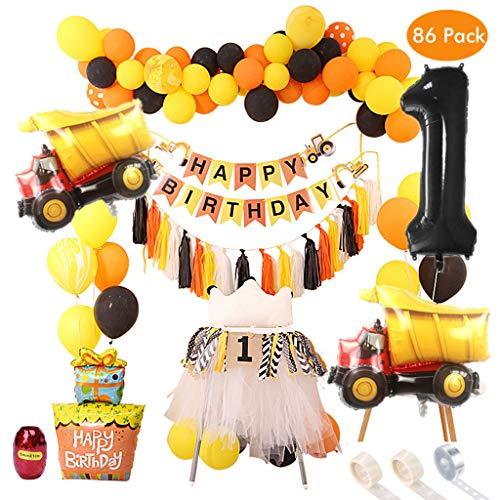 Amycute 86 Stück 1. Geburtstag BAU Thema Party Favors Supplies, Traktor aufblasbare Luftballons,Bagger Decor Geburtstag Banner, Latex Ballons, BAU Unter Dem Motto Geburtstag Party Deko Kit.