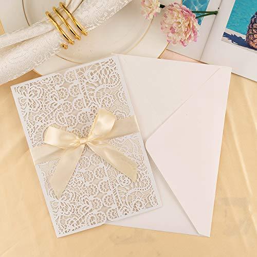 LONGBLE 10 Stück Hochzeit EinladungsKarten Hochzeitseinladung Glückwunsch Einladung Karten, Elegante Blume Spitze Hochzeitskarten - auch Für Geburtstag/Taufe/Kommunion mit Umschlag
