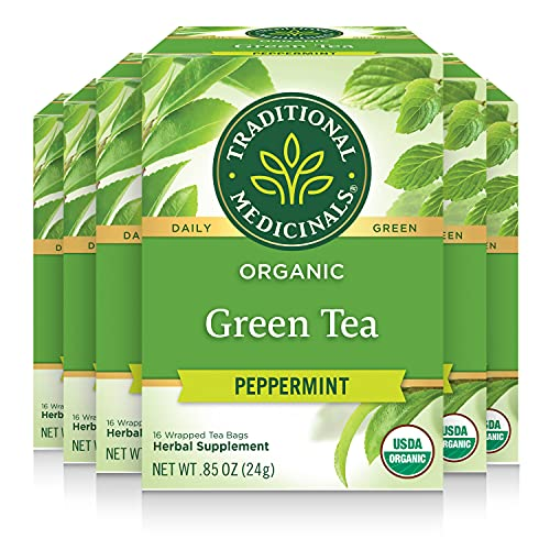 Traditional Medicinals Organic Green Tea, Peppermint, 16 Teabags (Pack of 6)