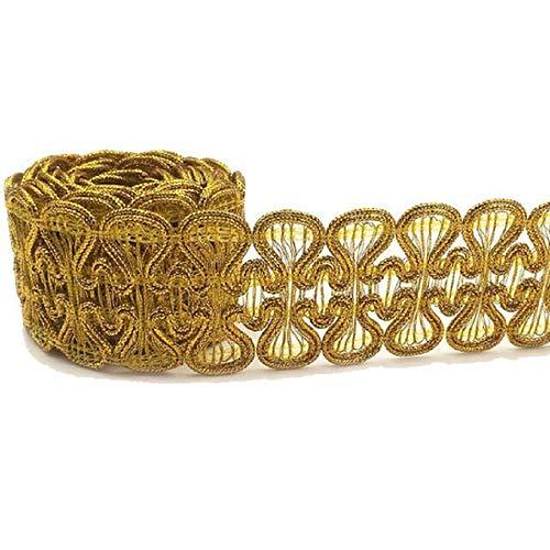 Yalulu 10 Meter Pailletten Spitzenband Spitzenbordüre Zum Borte Hochzeit Tischdeko Basteln Geschenkband Braid Nähen Band (Gold)